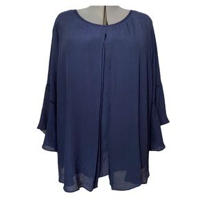 Navy Double layer tunic with flounce sleeves  1X